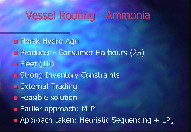 Vessel Routing - Ammonia Norsk Hydro Agri n Producer - Consumer Harbours (25) n