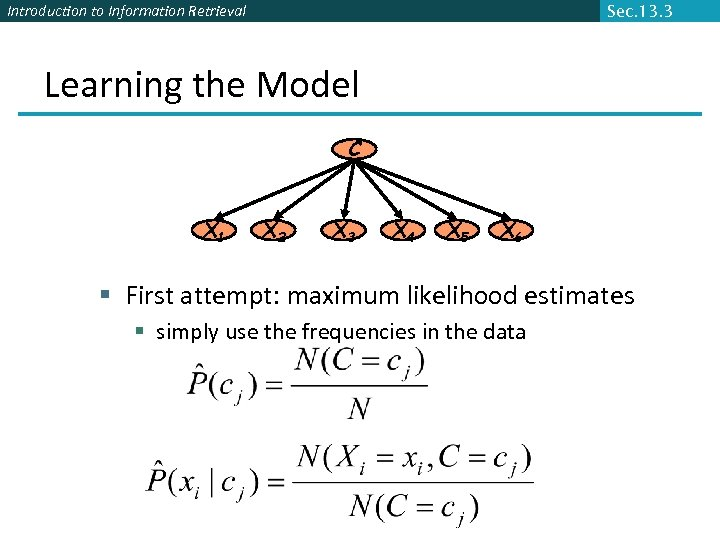 Introduction to Information Retrieval Sec. 13. 3 Learning the Model C X 1 X