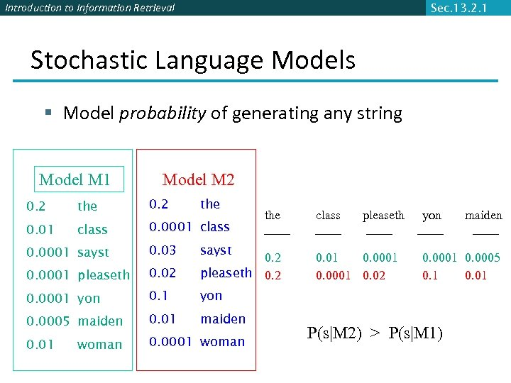 Introduction to Information Retrieval Sec. 13. 2. 1 Stochastic Language Models § Model probability