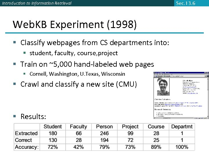 Introduction to Information Retrieval Web. KB Experiment (1998) § Classify webpages from CS departments