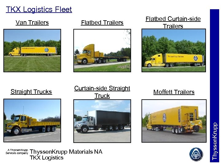 TKX Logistics Fleet Van Trailers Flatbed Curtain-side Trailers Box Trucks A Thyssen. Krupp Services