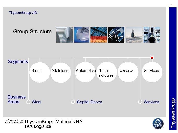 3 Thyssen. Krupp AG Group Structure Segments Business Areas A Thyssen. Krupp Services company