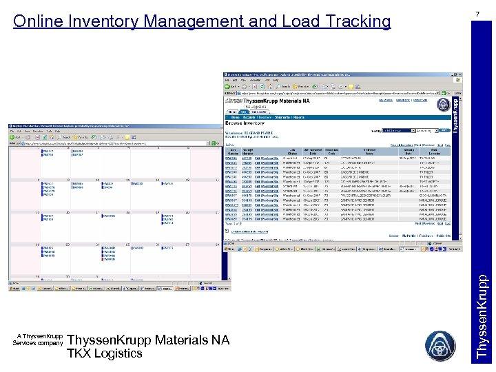 A Thyssen. Krupp Services company Thyssen. Krupp Materials NA TKX Logistics 7 Thyssen. Krupp