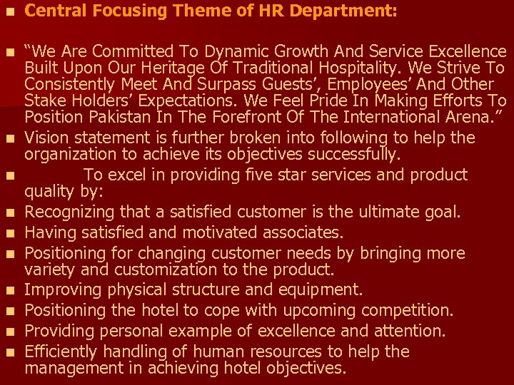 "n Central Focusing Theme of HR Department: n ""We Are Committed To Dynamic Growth"