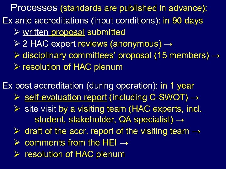 Processes (standards are published in advance): Ex ante accreditations (input conditions): in 90 days