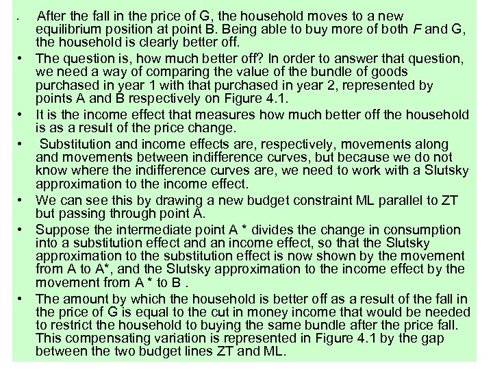 • • After the fall in the price of G, the household moves
