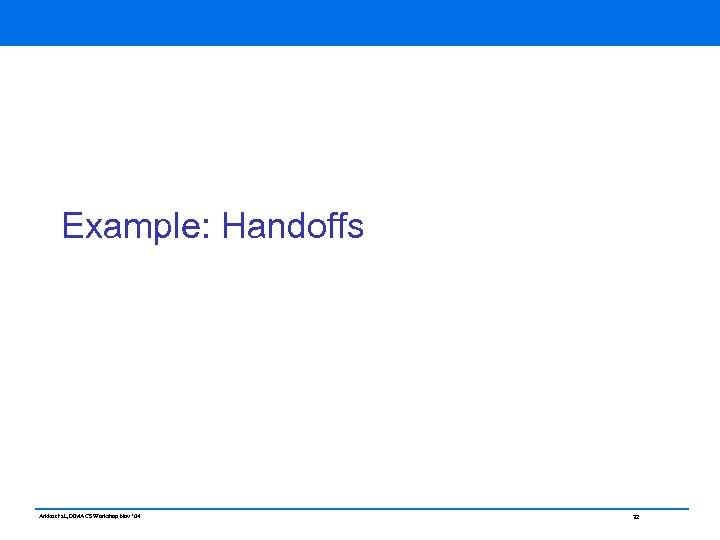 Example: Handoffs Arkko et al, DIMACS Workshop Nov ' 04 32