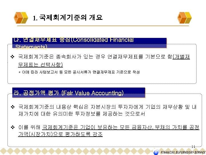 1. 국제회계기준의 개요 다. 연결재무제표 중심(Consolidated Financial Statements) v 국제회계기준은 종속회사가 있는 경우 연결재무제표를