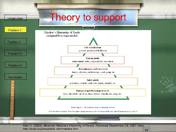 Introduction Theory to support Problem 1 Problem 2 Problem 3 Problem 4 Conclusion Alan