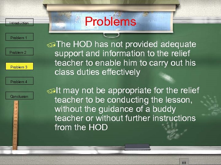 Problems Introduction Problem 1 Problem 2 Problem 3 /The HOD has not provided adequate