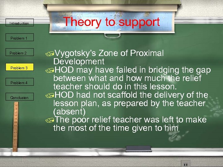 Introduction Theory to support Problem 1 Problem 2 Problem 3 Problem 4 Conclusion /Vygotsky's