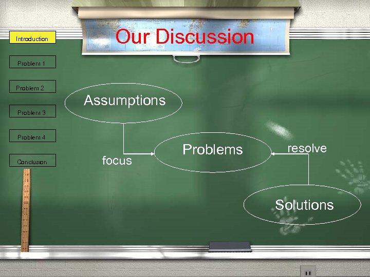 Introduction Our Discussion Problem 1 Problem 2 Assumptions Problem 3 Problem 4 Conclusion focus