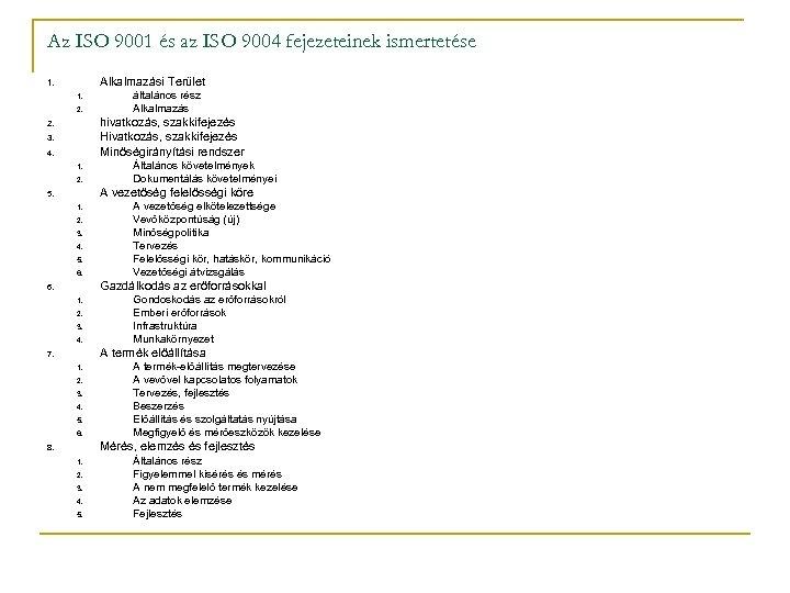 Az ISO 9001 és az ISO 9004 fejezeteinek ismertetése Alkalmazási Terület 1. 1. 2.