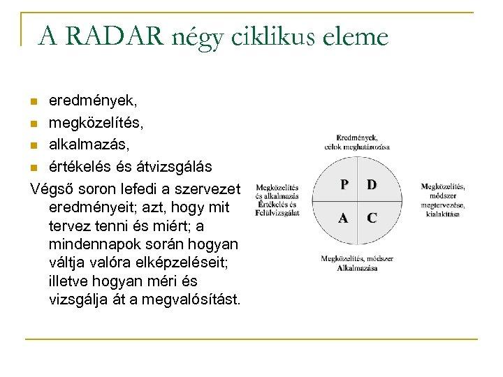 A RADAR négy ciklikus eleme eredmények, n megközelítés, n alkalmazás, n értékelés és átvizsgálás