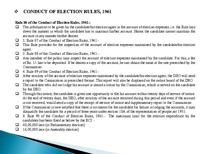 v CONDUCT OF ELECTION RULES, 1961 Rule 86 of the Conduct of Election Rules,
