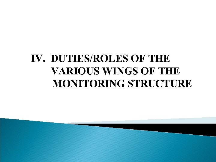 IV. DUTIES/ROLES OF THE VARIOUS WINGS OF THE MONITORING STRUCTURE