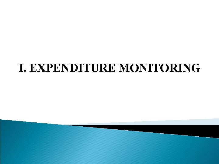 I. EXPENDITURE MONITORING