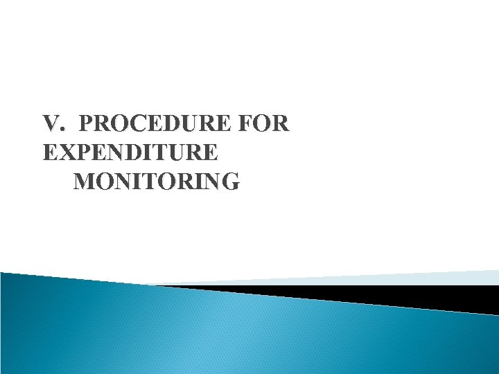 V. PROCEDURE FOR EXPENDITURE MONITORING