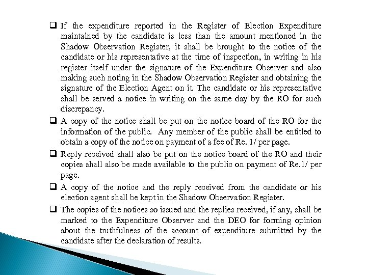 q If the expenditure reported in the Register of Election Expenditure maintained by the