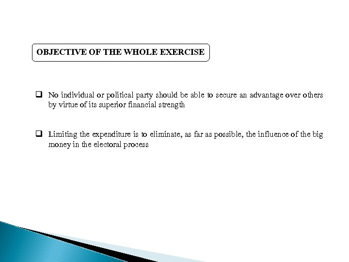 OBJECTIVE OF THE WHOLE EXERCISE q No individual or political party should be able