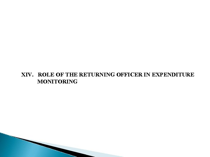 XIV. ROLE OF THE RETURNING OFFICER IN EXPENDITURE MONITORING