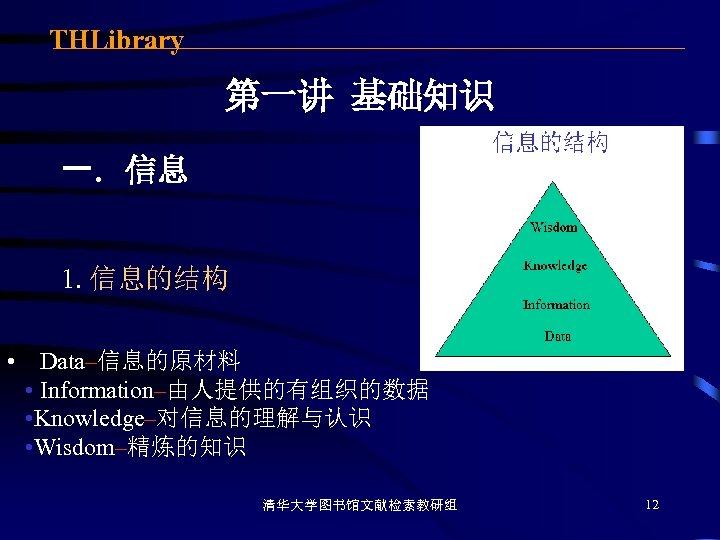 THLibrary 第一讲 基础知识 一. 信息 1. 信息的结构 • Data–信息的原材料 • Information–由人提供的有组织的数据 • Knowledge–对信息的理解与认识 •