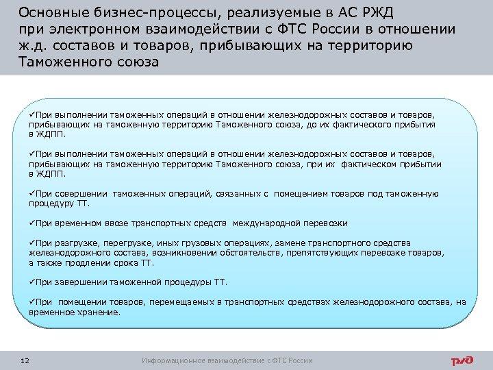 Основные бизнес-процессы, реализуемые в АС РЖД при электронном взаимодействии с ФТС России в отношении