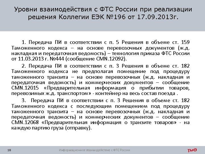 Уровни взаимодействия с ФТС России при реализации решения Коллегии ЕЭК № 196 от 17.