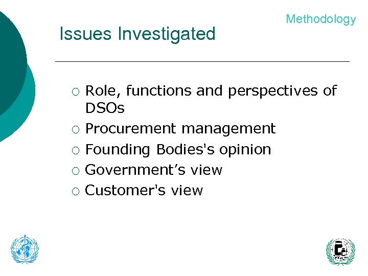 Issues Investigated ¡ ¡ ¡ Methodology Role, functions and perspectives of DSOs Procurement management