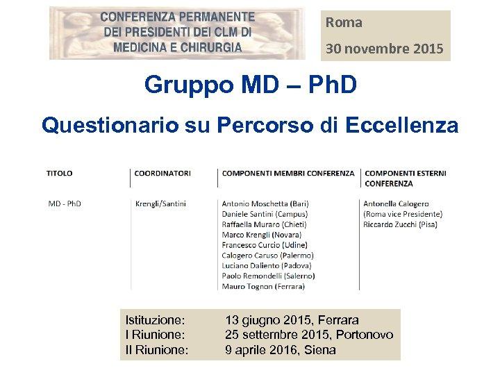 Roma 30 novembre 2015 Gruppo MD – Ph. D Questionario su Percorso di Eccellenza