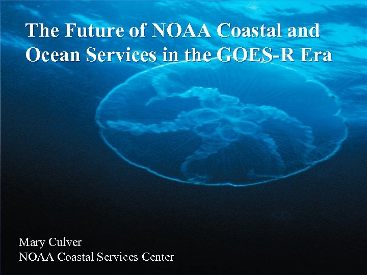The Future of NOAA Coastal and Ocean Services in the GOES-R Era Mary Culver