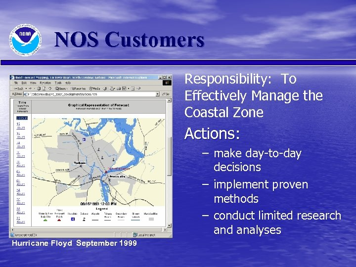 NOS Customers Responsibility: To Effectively Manage the Coastal Zone Actions: – make day-to-day decisions