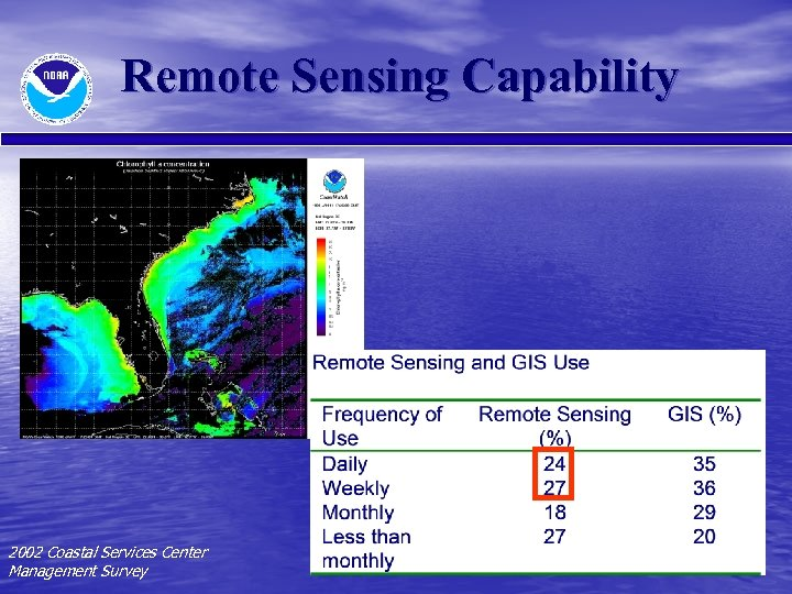 Remote Sensing Capability 2002 Coastal Services Center Management Survey