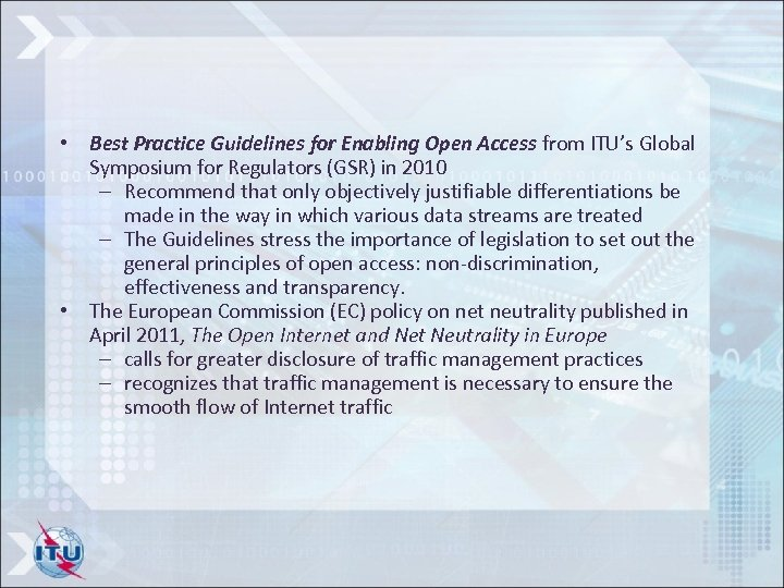 • Best Practice Guidelines for Enabling Open Access from ITU's Global Symposium for