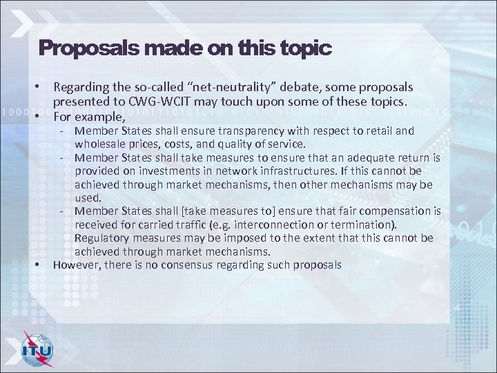 "Proposals made on this topic • Regarding the so-called ""net-neutrality"" debate, some proposals presented"