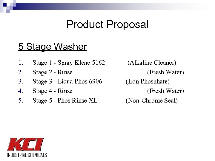 Product Proposal 5 Stage Washer 1. 2. 3. 4. 5. Stage 1 - Spray