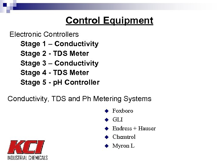 Control Equipment Electronic Controllers Stage 1 – Conductivity Stage 2 - TDS Meter Stage