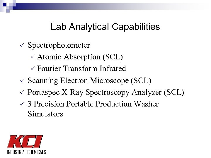 Lab Analytical Capabilities ü ü Spectrophotometer ü Atomic Absorption (SCL) ü Fourier Transform Infrared
