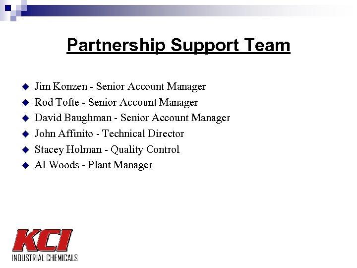 Partnership Support Team u u u Jim Konzen - Senior Account Manager Rod Tofte