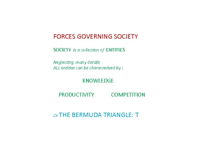 FORCES GOVERNING SOCIETY is a collection of ENTITIES Neglecting many details ALL entities can
