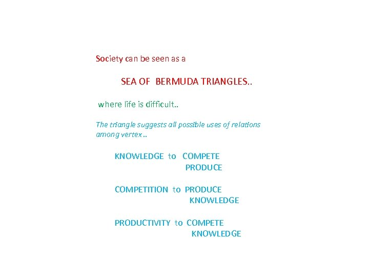 Society can be seen as a SEA OF BERMUDA TRIANGLES. . where life is