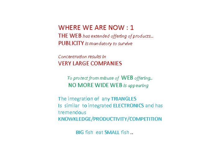 WHERE WE ARE NOW : 1 THE WEB has extended offering of products. .