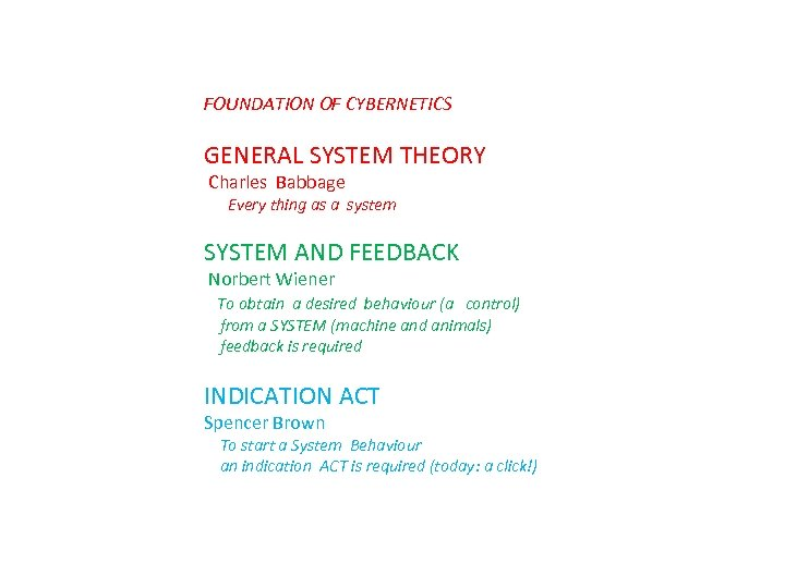 FOUNDATION OF CYBERNETICS GENERAL SYSTEM THEORY Charles Babbage Every thing as a system SYSTEM