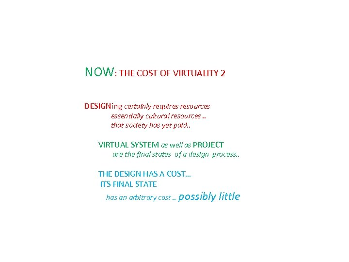 NOW: THE COST OF VIRTUALITY 2 DESIGNing certainly requires resources essentially cultural resources. .
