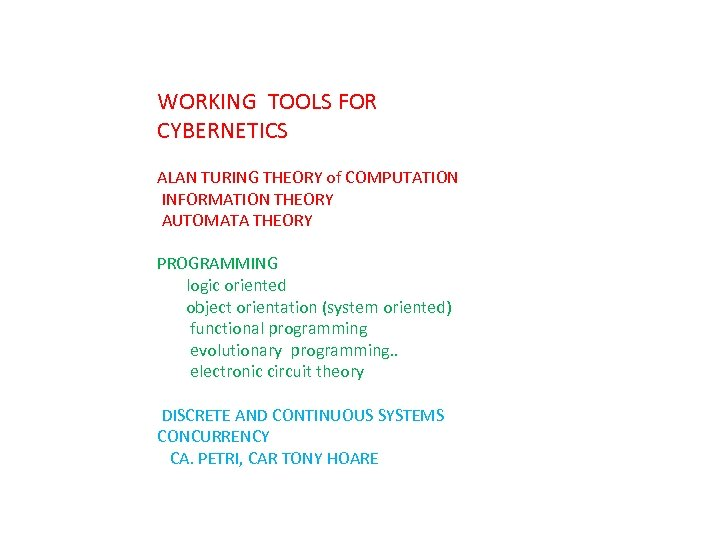 WORKING TOOLS FOR CYBERNETICS ALAN TURING THEORY of COMPUTATION INFORMATION THEORY AUTOMATA THEORY PROGRAMMING