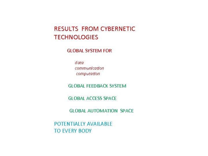 RESULTS FROM CYBERNETIC TECHNOLOGIES GLOBAL SYSTEM FOR data communication computation GLOBAL FEEDBACK SYSTEM GLOBAL