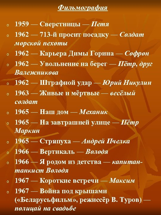 Фильмография o o o o 1959 — Сверстницы — Петя 1962 — 713 -й