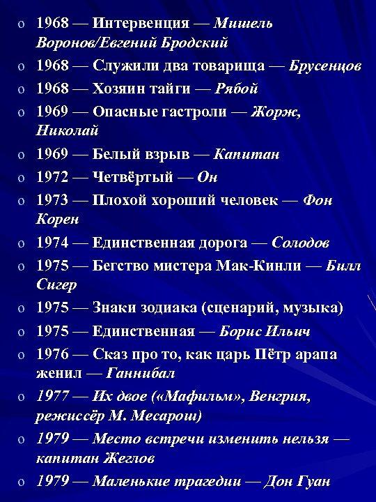 o 1968 — Интервенция — Мишель o o o o Воронов/Евгений Бродский 1968 —