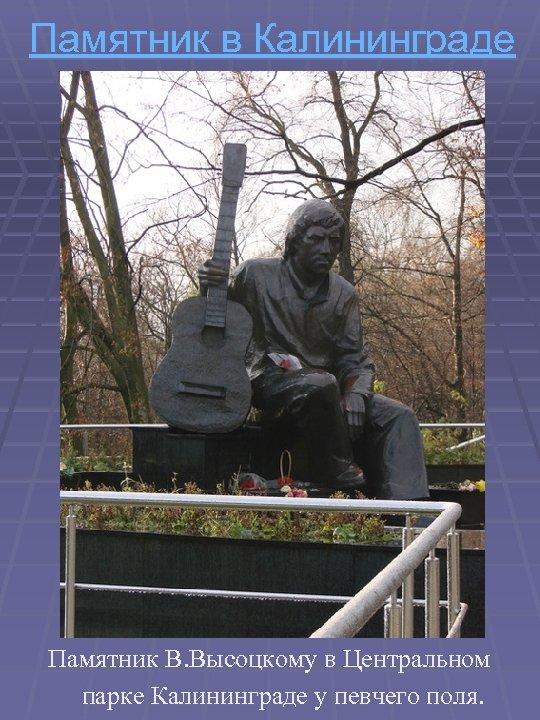 Памятник в Калининграде Памятник В. Высоцкому в Центральном парке Калининграде у певчего поля.