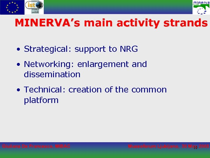 MINERVA's main activity strands • Strategical: support to NRG • Networking: enlargement and dissemination